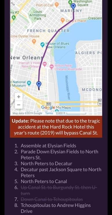 Krewe of Boo 2019 Route
